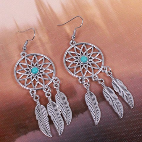 Hot Dream Catcher Turquoise Feather Earrings - SILVER  Mobile