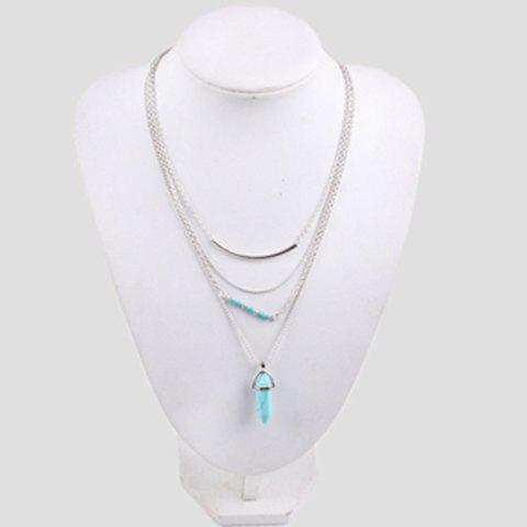 Discount Bohemian Layered Faux Turquoise Necklace SILVER