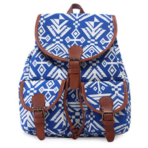 Discount Casual Geometric Print and Buckle Design Satchel For Women