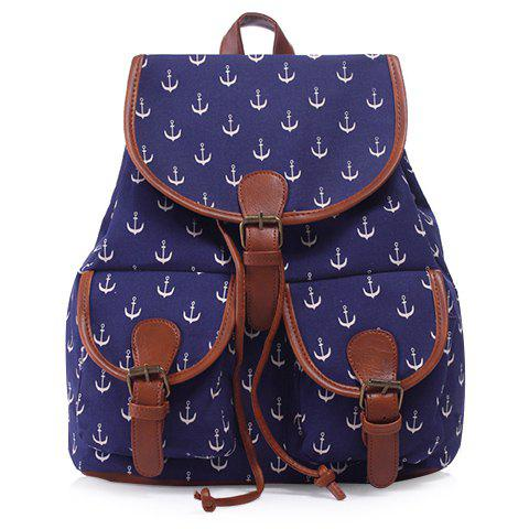 New Casual Anchor Print and Buckle Design Satchel For Women
