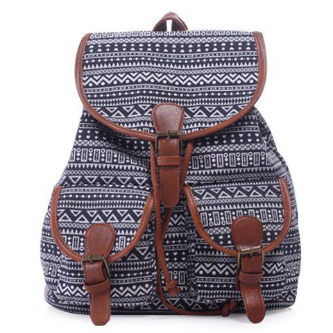Trendy Casual Tribal Print and Buckle Design Satchel For Women
