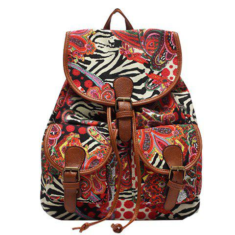Cheap Sweet Buckles and Floral Print Design Satchel For Women