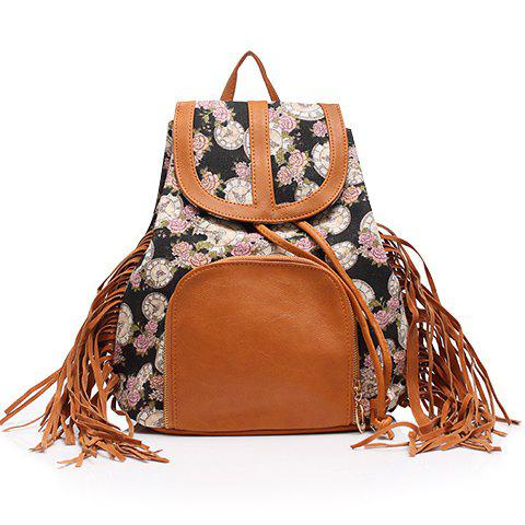 Chic Sweet Floral Print and Fringe Design Satchel For Women