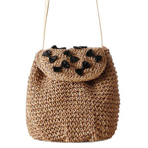 Unique Casual Bow and Straw Design Crossbody Bag For Women