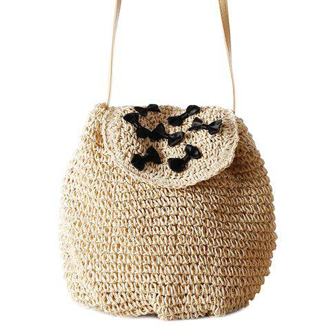 Best Casual Bow and Straw Design Crossbody Bag For Women - OFF-WHITE  Mobile