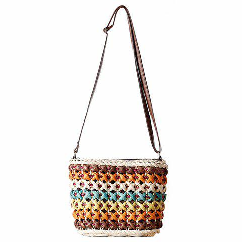 Cheap Casual Color Matching and Weaving Design Crossbody Bag For Women