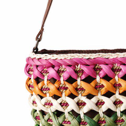 Unique Casual Color Matching and Weaving Design Crossbody Bag For Women - ROSE  Mobile