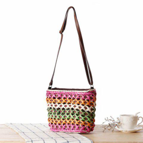 Online Casual Color Matching and Weaving Design Crossbody Bag For Women - ROSE  Mobile