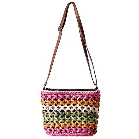 Sale Casual Color Matching and Weaving Design Crossbody Bag For Women - ROSE  Mobile
