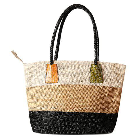 Unique Casual Straw Color Block Beach Bag