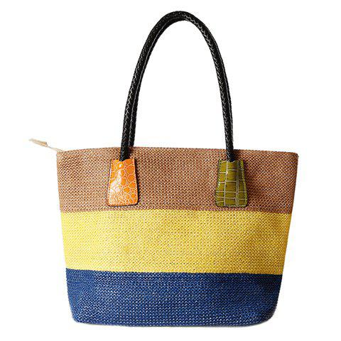 Fashion Casual Straw Color Block Beach Bag - YELLOW  Mobile