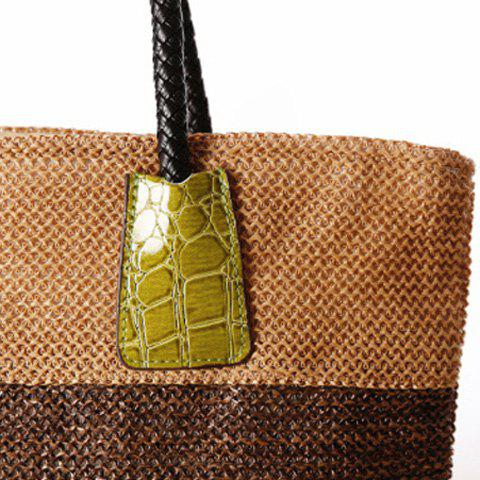 Outfit Casual Straw Color Block Beach Bag - YELLOW  Mobile