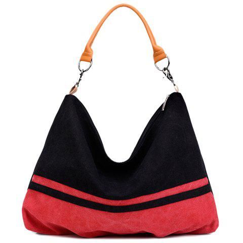 Trendy Casual Canvas and Color Matching Design Shoulder Bag For Women