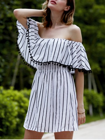 Cheap Trendy Off The Shoulder Striped Fringed Backless Women's Dress