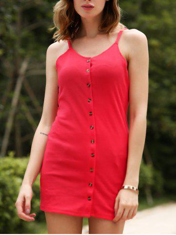Store Chic Spaghetti Strap Buttoned Sheath Red Dress For Women