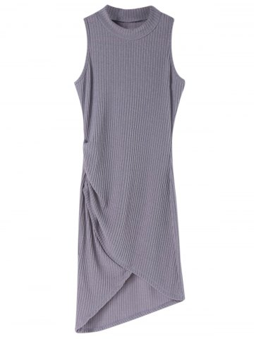 Chic Chic Stand-Up Collar Sleeveless Gray Asymmetrical Bodycon Dress For Women