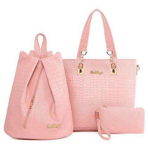 Trendy Metallic and Embossing Design Shoulder Bag For Women - Pink