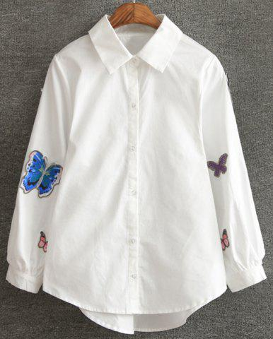Outfit Chic Lantern Sleeve Butterfly Embroidered Shirt For Women