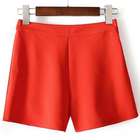 Cheap Casual Solid Color Zippered Mini Shorts For Women