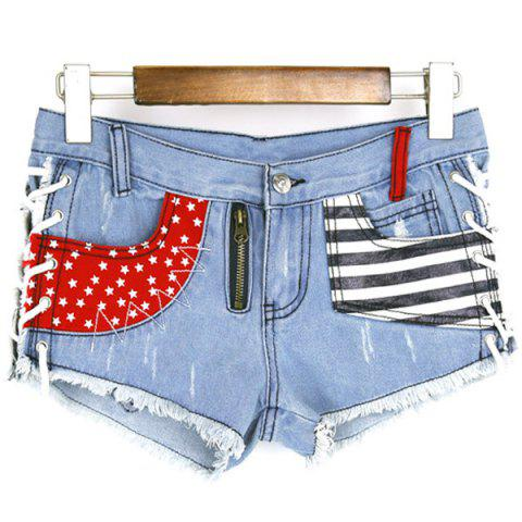 Chic Lace Up Pockets Low-Waisted Striped Women's Denim Shorts