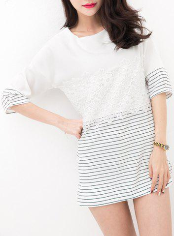 Discount Brief Round Collar Lace Pattern Striped Half Sleeve T-Shirt For Women