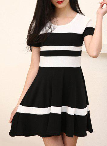 Shop Chic Round Collar Color Block Short Sleeve Dress For Women