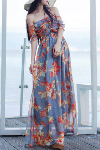 Store Alluring Off-The-Shoulder Flower Print High Waist Maxi Dress For Women