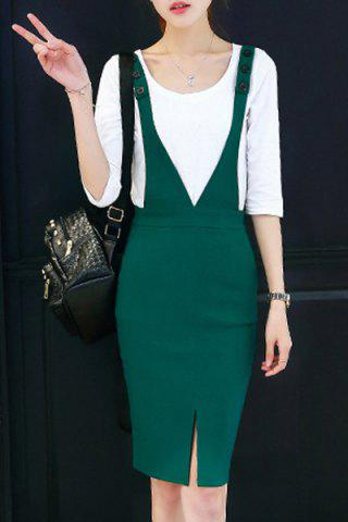 Sale Fashionable V Neck Buttoned Slit Suspender Dress + All-Match Tee Twinset For Women