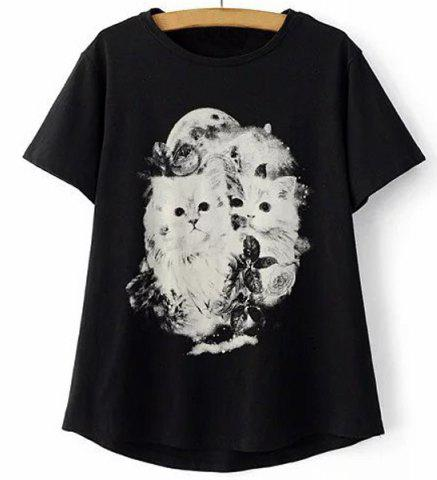 Chic Casual Jewel Collar Short Sleeve Kitten Print T-Shirt For Women