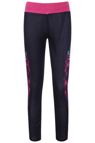 Stylish Owl Print Color Block Elastic Stretchy Yoga Pants For Women