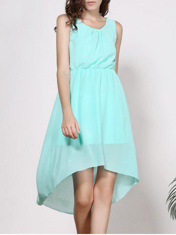 Unique Sleeveless High-Low A Line Chiffon Dress LIGHT GREEN XL