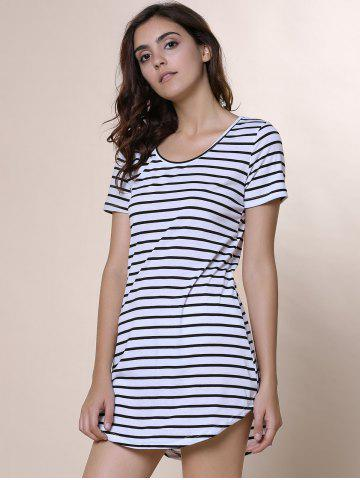 Affordable Summer Casual Striped Dress With Sleeves - XL WHITE Mobile