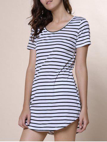 Best Summer Casual Striped Dress With Sleeves WHITE XL