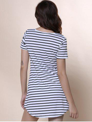 Trendy Summer Casual Striped Dress With Sleeves - XL WHITE Mobile