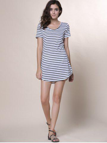 Cheap Summer Casual Striped Dress With Sleeves - XL WHITE Mobile