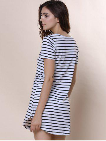 Fancy Summer Casual Striped Dress With Sleeves - XL WHITE Mobile