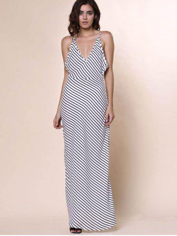 Best Bohemian Plunging Neckline Striped Backless Dress For Women - L WHITE Mobile