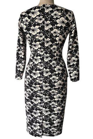 Vintage Style Round Neck 3/4 Sleeve Floral Print Pencil Dress For Women - BLACK M