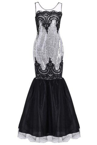 Sequin Sparkly Long Mermaid Prom Evening Dress - WHITE ONE SIZE(FIT SIZE XS TO M)