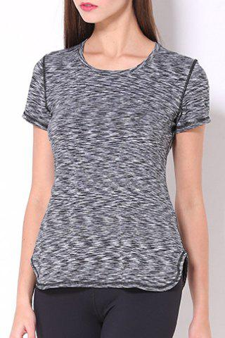 Fashion Sporty Scoop Neck Space-Dyed Yoga Top For Women