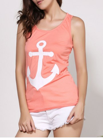 Outfits Stylish Scoop Neck Sleeveless Printed Bowknot Embellished Women's Tank Top - S ORANGE Mobile
