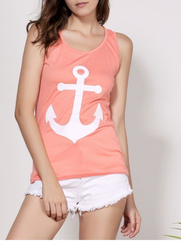 Chic Stylish Scoop Neck Sleeveless Printed Bowknot Embellished Women's Tank Top ORANGE S