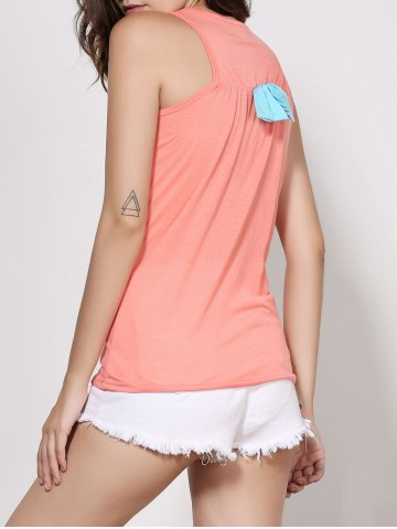 Chic Stylish Scoop Neck Sleeveless Printed Bowknot Embellished Women's Tank Top - XL ORANGE Mobile