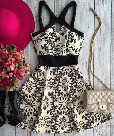 Outfit Active Spaghetti Strap Hollow Out Floral Print Women's Dress