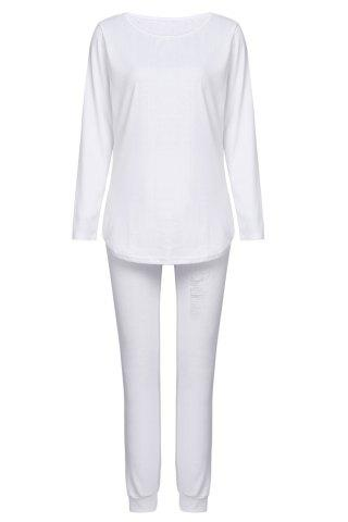 Hot Chic Solid Color Long Sleeve Ripped Blouse and Bodycon Drawstring Pants Twinset For Women WHITE M