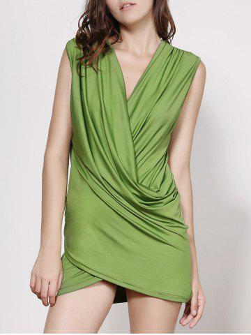 Affordable Stunning Plunging Neck Sleeveless Ruffled Solid Color Women's Dress GREEN M