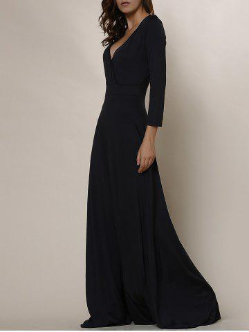 Store Plus Size Low Cut Prom Dress with Sleeves BLACK L