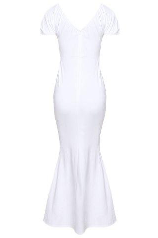 Cheap Off-The-Shoulder Short Sleeve Jersey Maxi Dress - XL WHITE Mobile