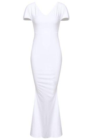 Outfit Off-The-Shoulder Short Sleeve Jersey Maxi Dress - XL WHITE Mobile