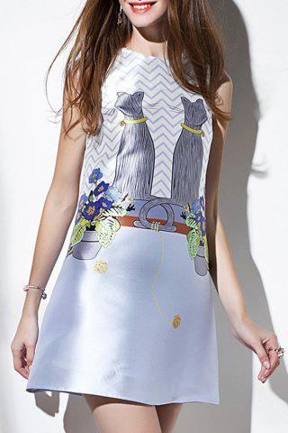 Discount Back Bow Tied Printed Dress